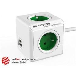 Zásuvka prodluž. PowerCube EXTENDED USB, Green, 4 rozbočka, 2x USB, kabel 1,5m