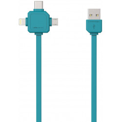PowerCube USBcable USB-C CABLE, Green, multi-vidlice (MicroUSB, Apple Lithning, USB-C), kabel 1,5m