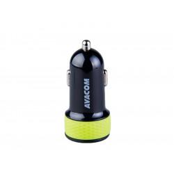 AVACOM nabíječka do auta s dvěma USB výstupy 5V/1A - 3,1A, černo-zelená barva