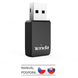 Tenda U9 WiFi AC650 USB Adapter, 633 Mb/s (433 + 200 Mb/s), 802.11 ac/a/b/g/n, OS Win XP/7/8/10
