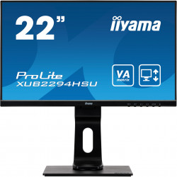 "22"" iiyama XUB2294HSU-B1: VA, FullHD@75, 250cd/m2, 4ms, VGA, HDMI, DP, USB, height, pivot, černý"