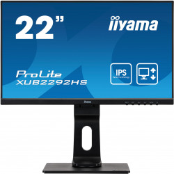 "22"" iiyama XUB2292HS-B1: IPS, FullHD@75, 250cd/m2, 4ms, VGA, HDMI, DP, height, pivot, černý"