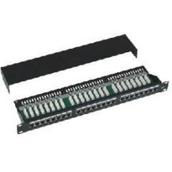 """Patch panel Cat5e 24p.1U,STP,19"""",černý,vyvázání"""
