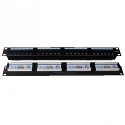 "Patch panel 24x RJ-45,Cat5e UTP,1U, 19"" Dual"