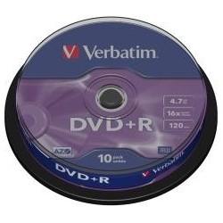 VERBATIM DVD+R(10-Pack)Spindl/MattSlvr/16x/4.7GB