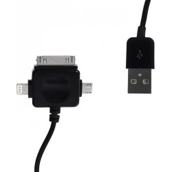 WE Datový kabel micro USB/iPhone4/5 100cm černý